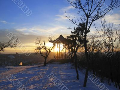Chinese arbor. North Caucasus landmarks. Winter Pyatigorsk
