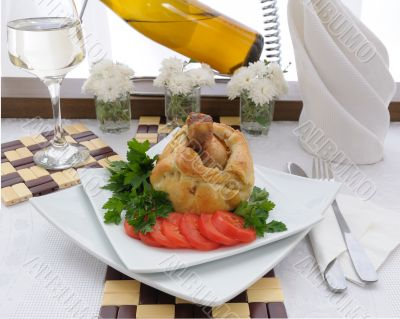 Chicken leg stuffed with mushrooms in pastry