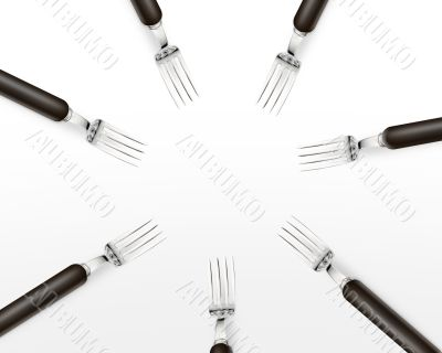 Empty copy space circle in set of forks