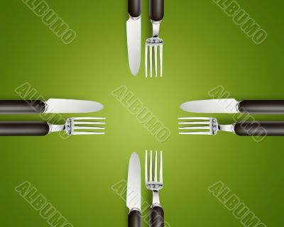 Empty copy space circle in set of knives and forks