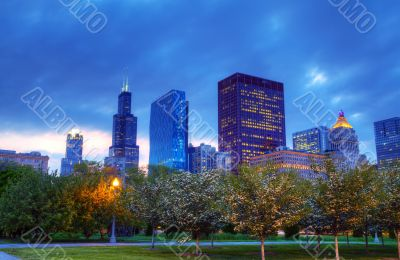 Downtown Chicago, IL in the evening
