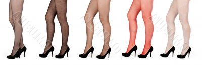 A collage of five pairs of female legs in pantyhose and shoes