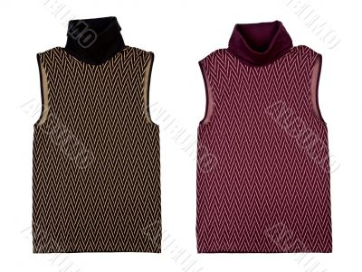 Collage of two women`s blouse with a geometric pattern