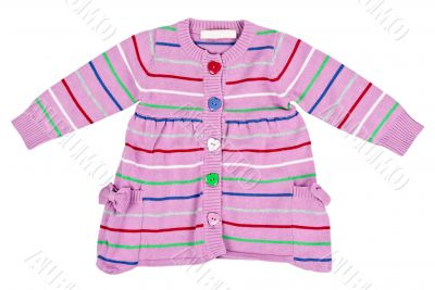 striped baby sweater with buttons in the shape of a heart