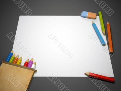 Colourful pencils, eraser and blank sheet of paper