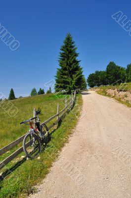 Bicycle on country road