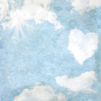 Delicate vintage background - heart-shaped