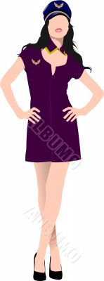 Air hostess isolated on white background. Stewardess. Vector ill