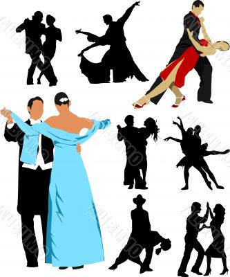 Silhouette dancing people for design. Vector illustration