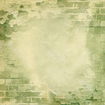 Green wall, brick, cracked paint