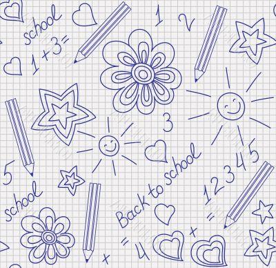 Back to school hand-drawn seamless pattern