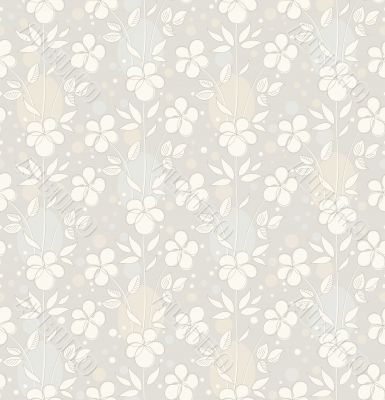 Vector seamless background with decorative flowers