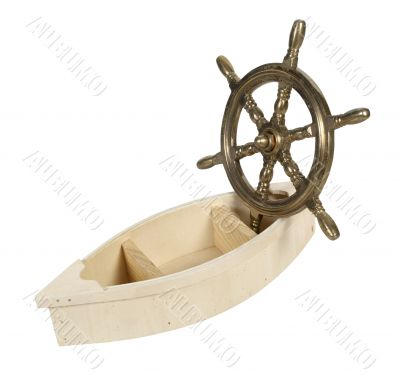 Wooden Boat and Brass Steering Wheel