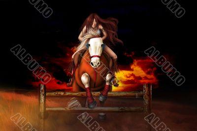 Jump. Riding Girl
