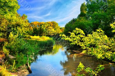 Scenic river in autumn forest