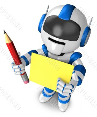 Blue robot Grasp a pencil and board. 3D Robot Character