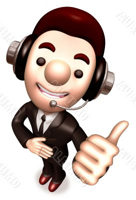 Man gestures to best service. 3D Business Character
