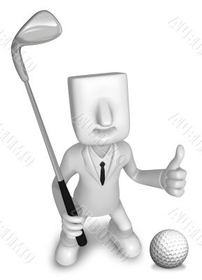 Golf Game Promotion Business Man. 3D Salesmen Character