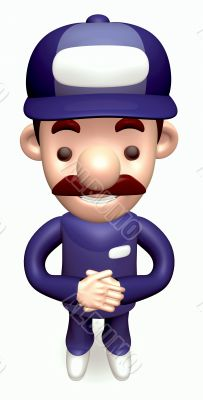 Politely greeting service Man. 3D Business Character