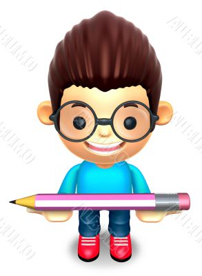 Lift up the glasses children Big pencil. 3D Kids Character