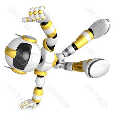 Vigorously dancing gold robot. 3D Robot Character
