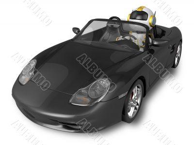 Gold Robot riding a black sports car. 3D Robot Character