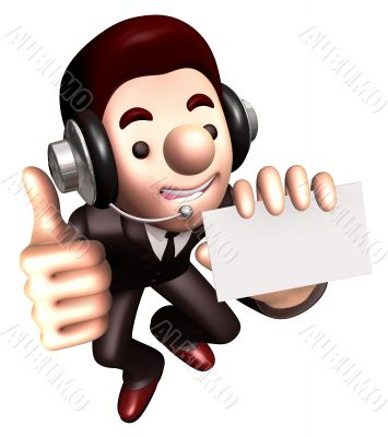 Business card advertising business a Man. 3D Sales Man Character