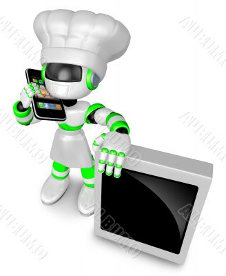 A Chef Robot during a phone call. 3D Robot Character