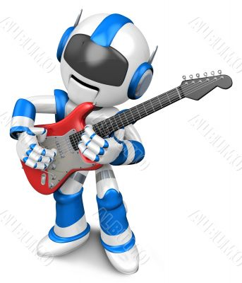 Blue robot to play the electric guitar. 3D Robot Character