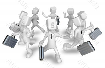 Businessman carrying a briefcase running. 3D Sales Man Character