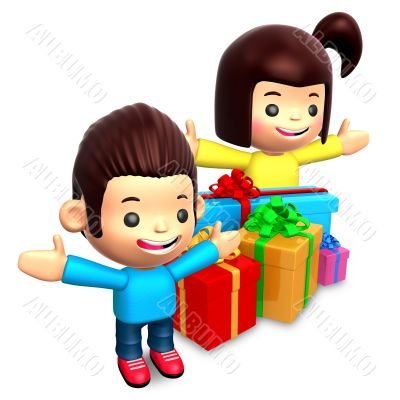 Boys and girls received many gifts. 3D Children Character
