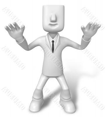 Startled businessman. 3D Business Character