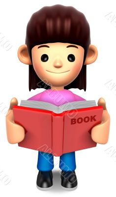 A woman reported a book. 3D Family Character