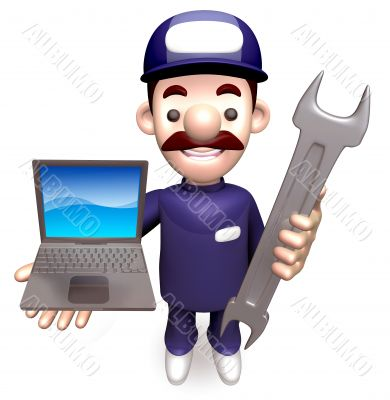 The Man Grasp the laptop and spanner. 3D Service Man Character