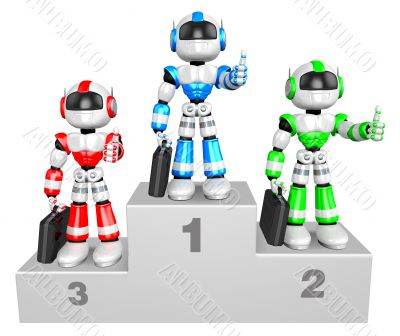 Awards Ceremony of Business Robot. 3D Business Character