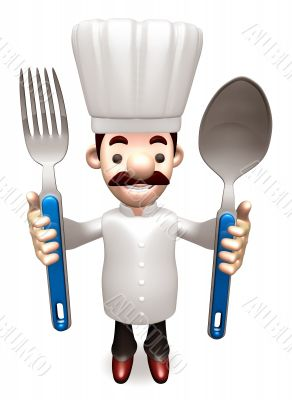 Chef Grasp a spoon and fork in both hands. 3D Chef Character