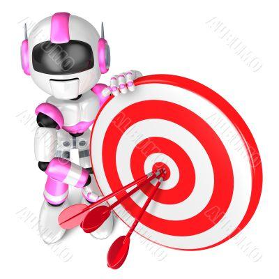 A Pink Robot the Darts Gamesr. 3D Robot Character