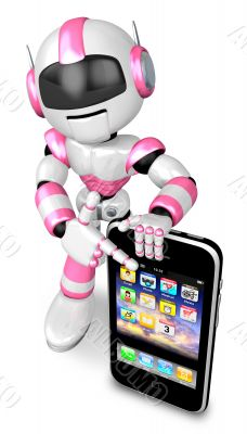 The Smartphone Point to A Pink robots. 3D Robot Character