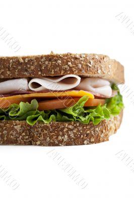 cropped close up image of ham sandwich