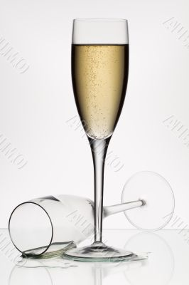 champagne and empty glass