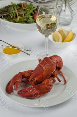 lobster dinner with wine and vegetable salad