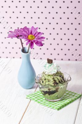 mint chocolate chip ice cream beside a base