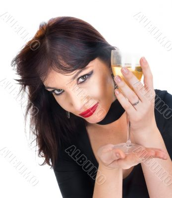 young female with glass of wine