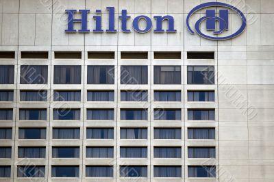 hilton toronto hotel sign on building exterior
