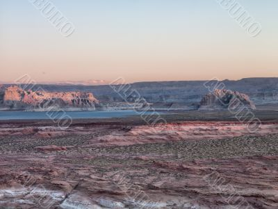 mountain range with cliffs and river at lake mead