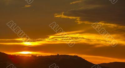 sunset on the mountain range