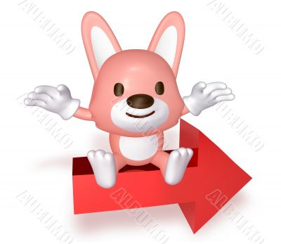 3d pink cute rabbit sitting on the red arrow