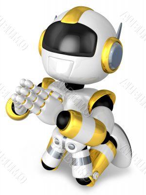 Prayer and Gold Robot. 3D Robot Character Design