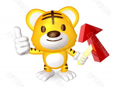 3d yellow cute tiger standing to take the red arrow