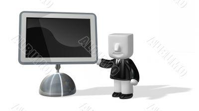3d business man standing next to big screen